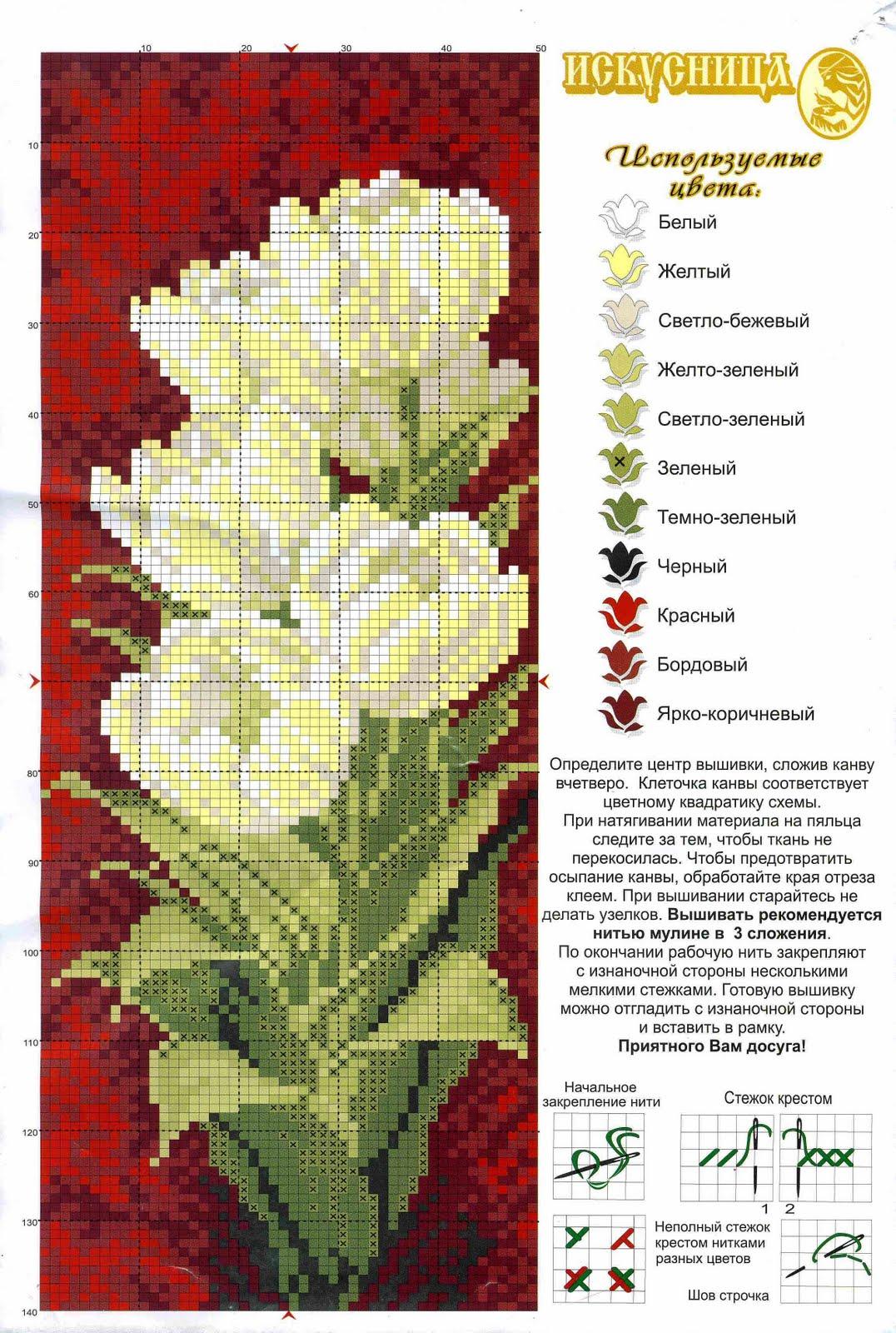 Схемы белых цветов крестиком