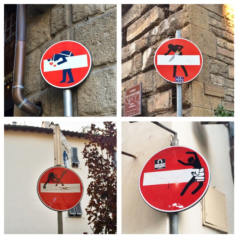 Mmi, Mittwochs mag ich, Clet Abraham, Straßenschilder Florenz, Streetart, Street Art Signs, Florenz, Firenze, Florence, Künstler, Straßenkünstler, Einbahnstraßenschilder