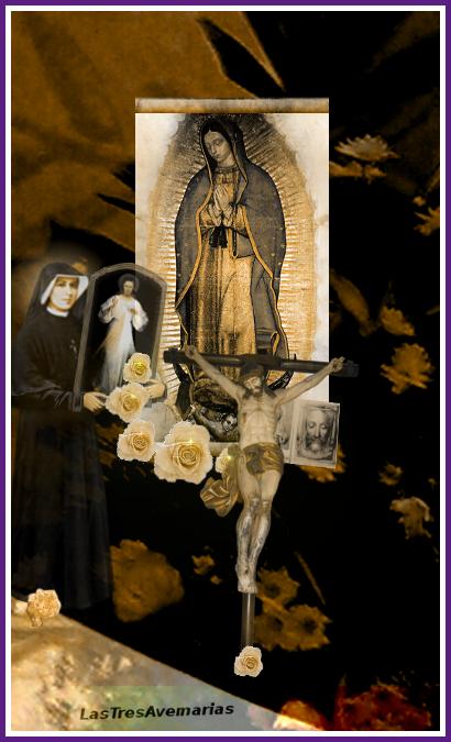 madre de Dios virgen de guadalupe con cruz abajo