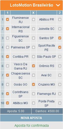 LOTOMOTION BRASILEIRÃO - 32ª RODADA - APOSTA 01