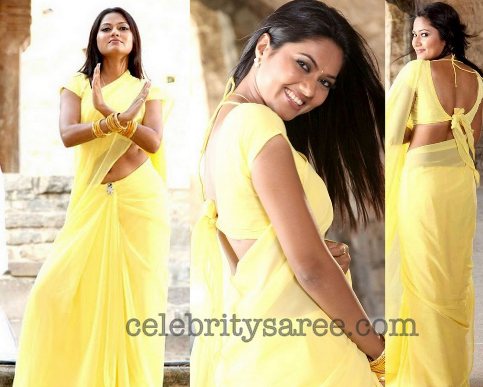 Suhasini in Yellow Sarees with Back Neck Blouses