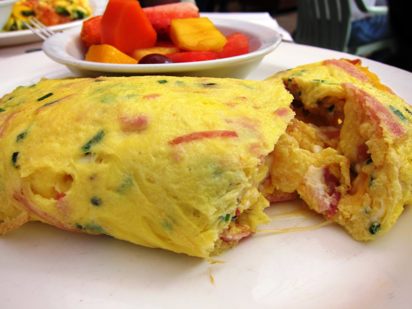 Ham & Cheese Omelet - prosciutto, swiss, cheddar & goat cheese with ...