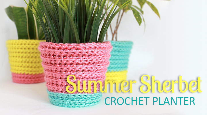 Tutorial: Summer Sherbet Crochet Planter Cover | The Inspired Wren