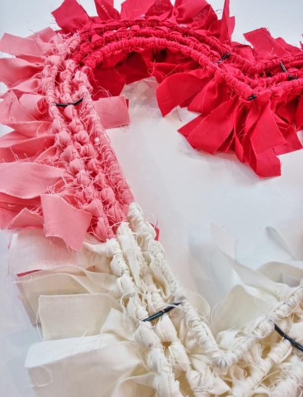 Shabby Fabrics | DIY Scrappy Heart Wreath