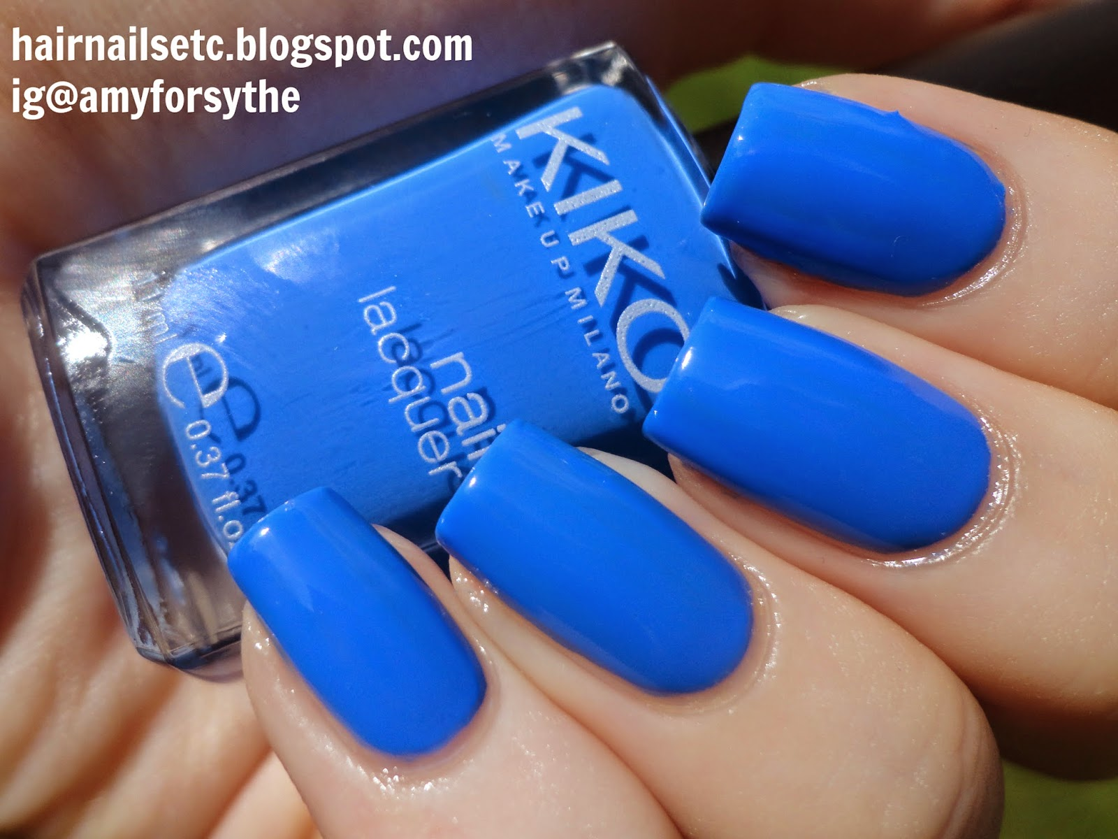 Kiko nail polish swatch review 385 Pastel Blue