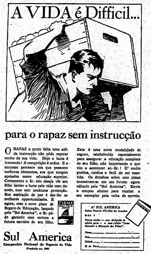 Propaganda do Seguro Educacional Sul América de 1938.