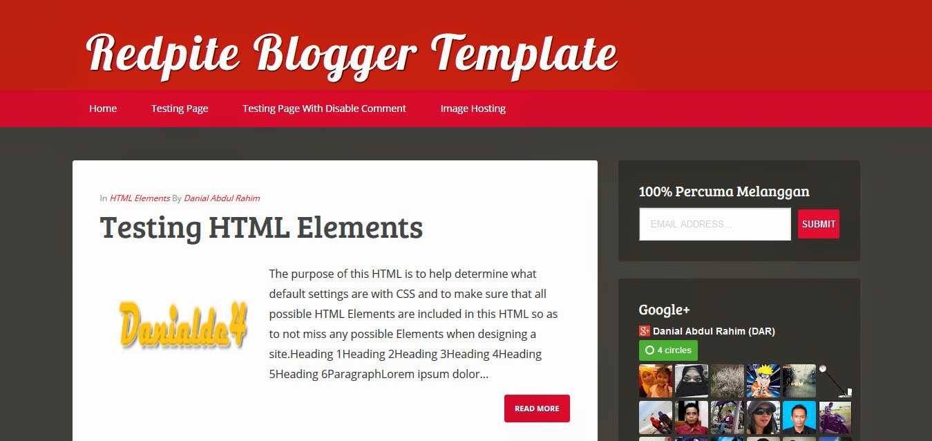 Redpite Blogger Template.