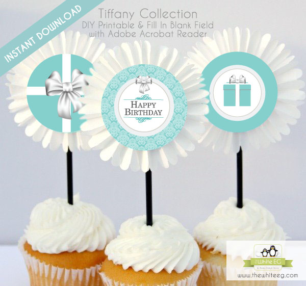 Free Printable Tiffany Co Inspired Happy Birthday Cupcake