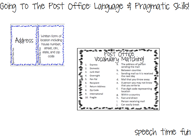 Going To A Post Office Language Pragmatic Skills AND GIVEAWAY – Skills Worksheet Vocabulary Review