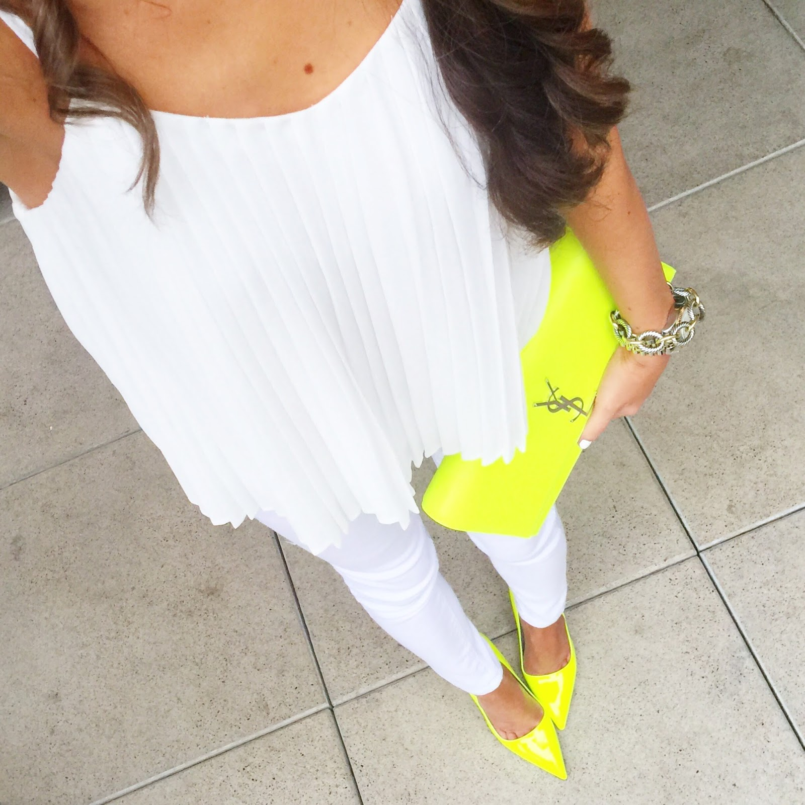 white pleated top on sale white pants neon