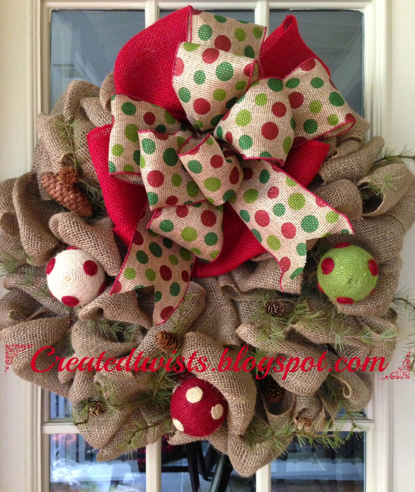 Created twists christmas burlap wreath with polka dot for How to decorate a burlap wreath for christmas