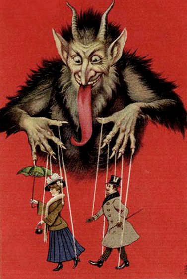 picture of antique devil with marionette humans