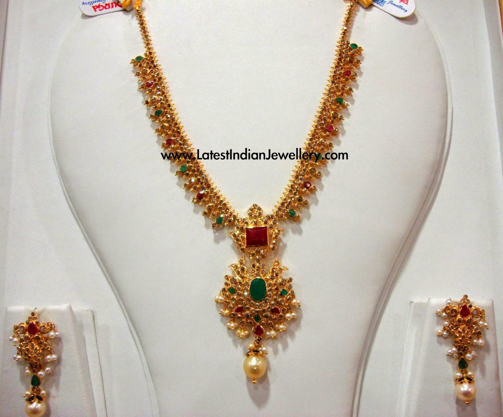 uncut diamond gold necklace in simple design latest indian