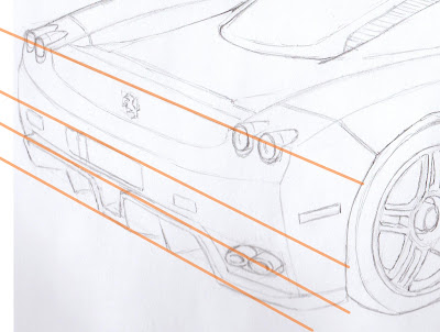 draw ferrari enzo pencil perspective guidlines