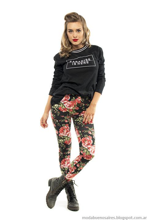 Pantalones estampados de moda urbana mujer Camaruco invierno 2015.