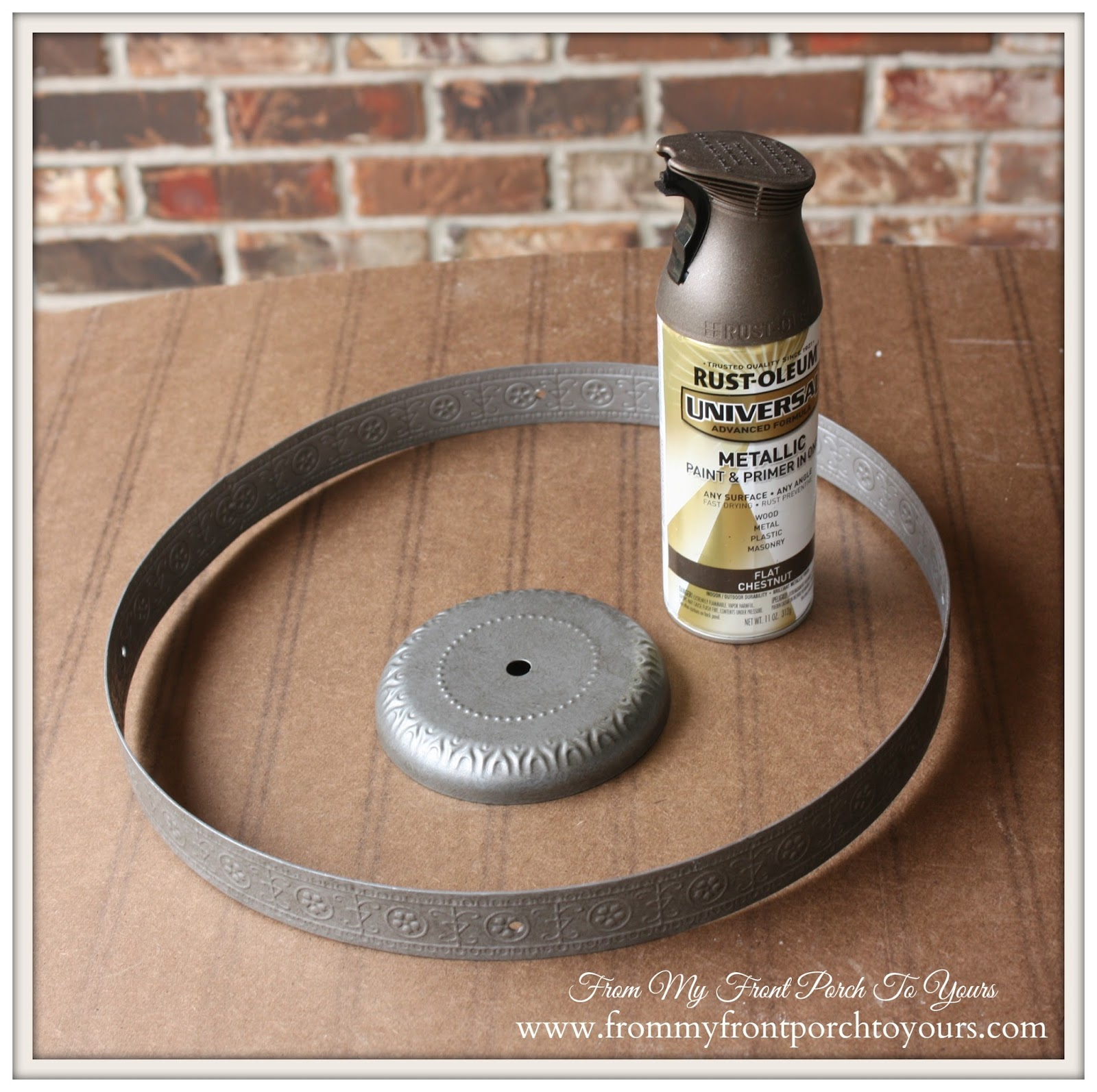 Industrial Farmhouse Light-Rustoleum Spray Paint Flat Chestnut- From My Front Porch To Yours