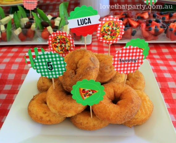 Pizza party food ideas for kids donuts with printable personalised cupcake topper food picks