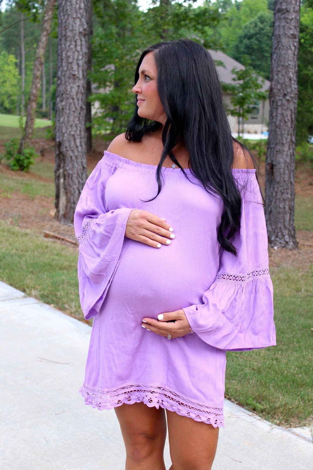 Lavender off shoulder dress, Bumpstyle box