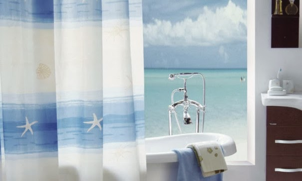White Curtains Black Trim Ocean Themed Shower Curtains