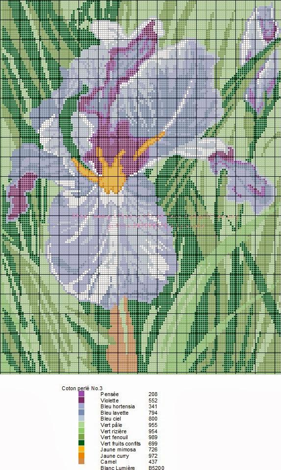grilles point de croix et cie grille point de croix iris. Black Bedroom Furniture Sets. Home Design Ideas