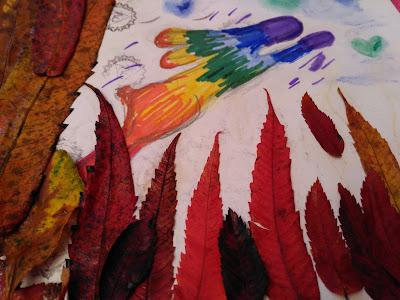 Art journal piece with autumn leaves - Celtic Phoenix