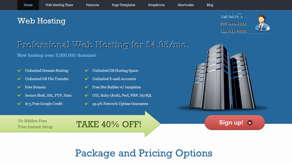 WebHosting Wordpress Theme Free Download by Templatic.