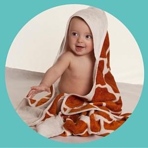 Funky giraffe print Cuddledry baby towel