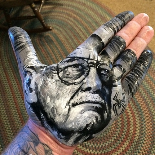 05-Stan-Lee-Russell-Powell-Hand-Body-Painting-Transferred-to-Paper-www-designstack-co
