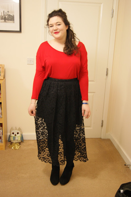 Black lace skirt, red top, black tights and boots 2