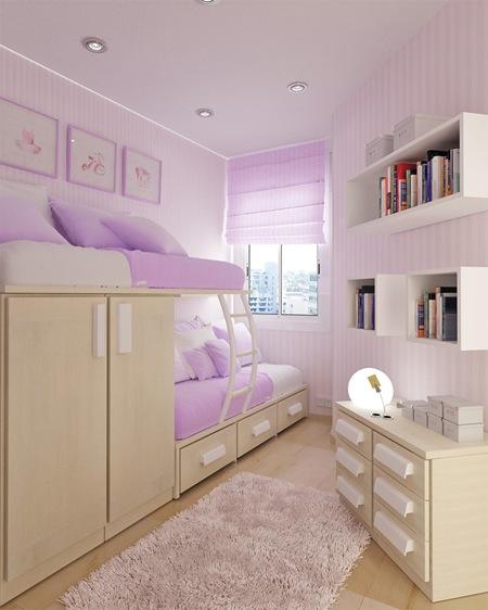 dormitorio lila con poco espacio by
