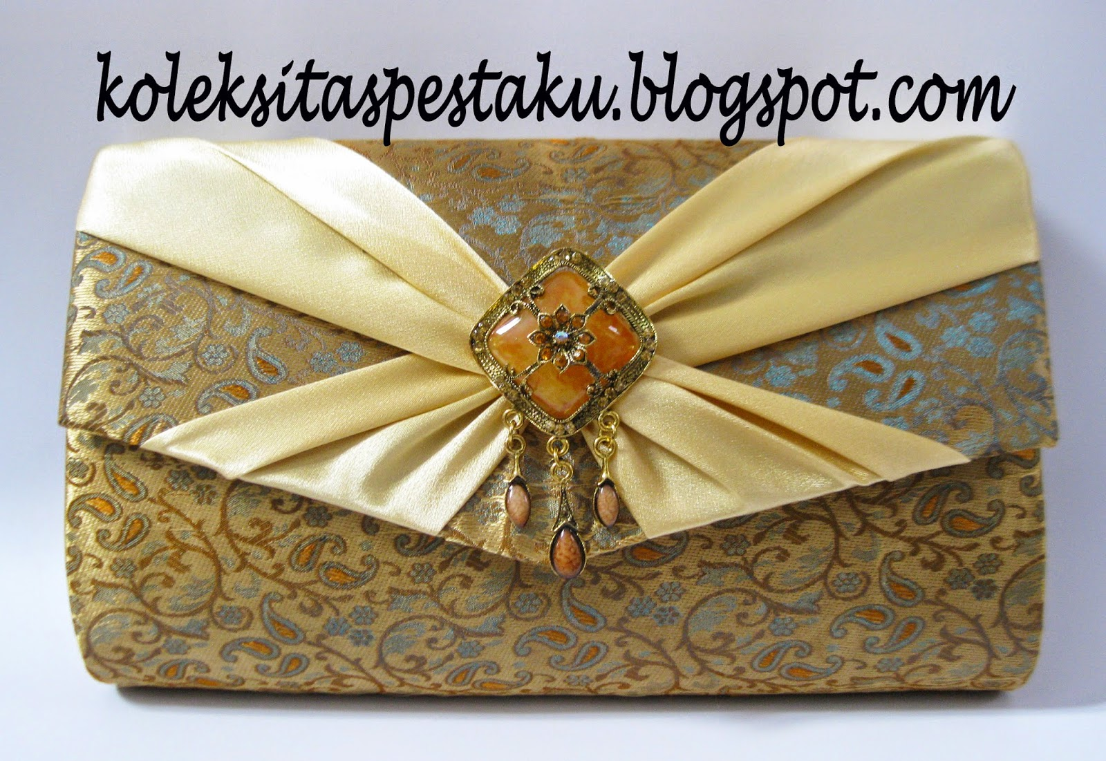 Tas Pesta Tenun Mirip Songket Sari India Gold Mewah elegant