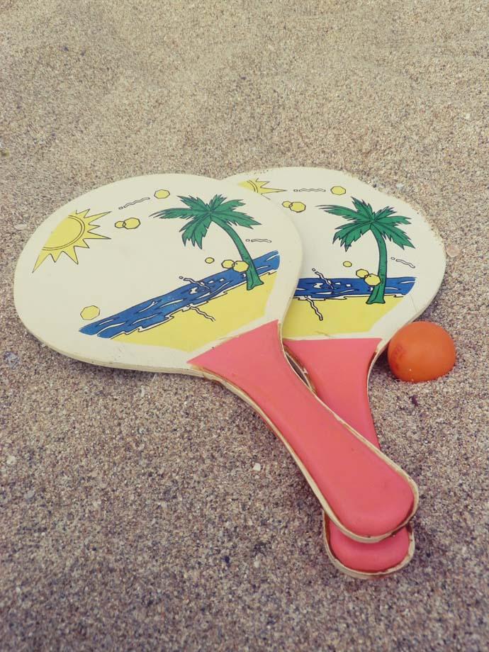 Beach tennis in the sand