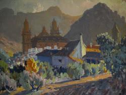 Vista de la catedral de Jaén desde la Senda de los Huertos -Óleo del pintor jiennense Rufino Martos