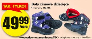 Buty zimowe dziecięce z Biedronki ulotka