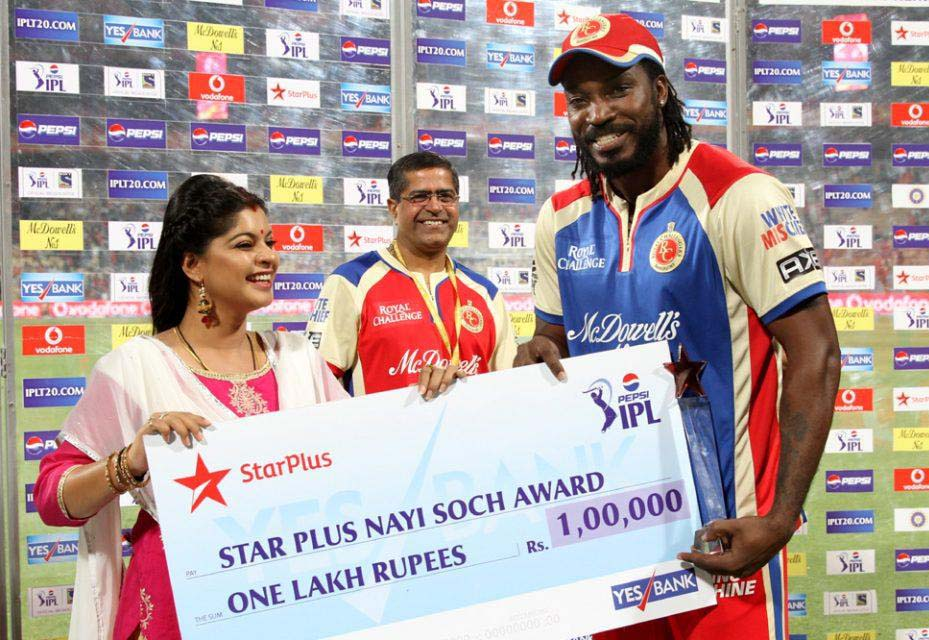 Chris-Gayle-Nayi-Soch-Award-RCB-vs-RR-IPL-2013