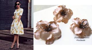 Цветя от полимерна глина карамел в съчетание с рокля