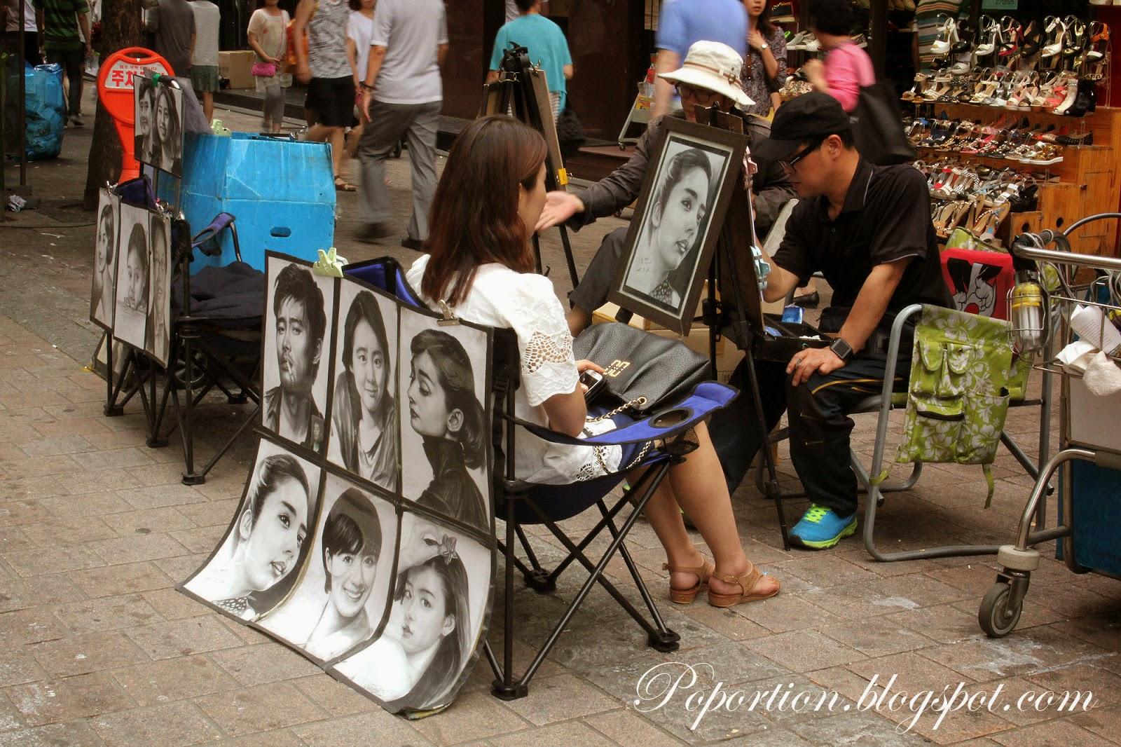 artist draw myeondong korea