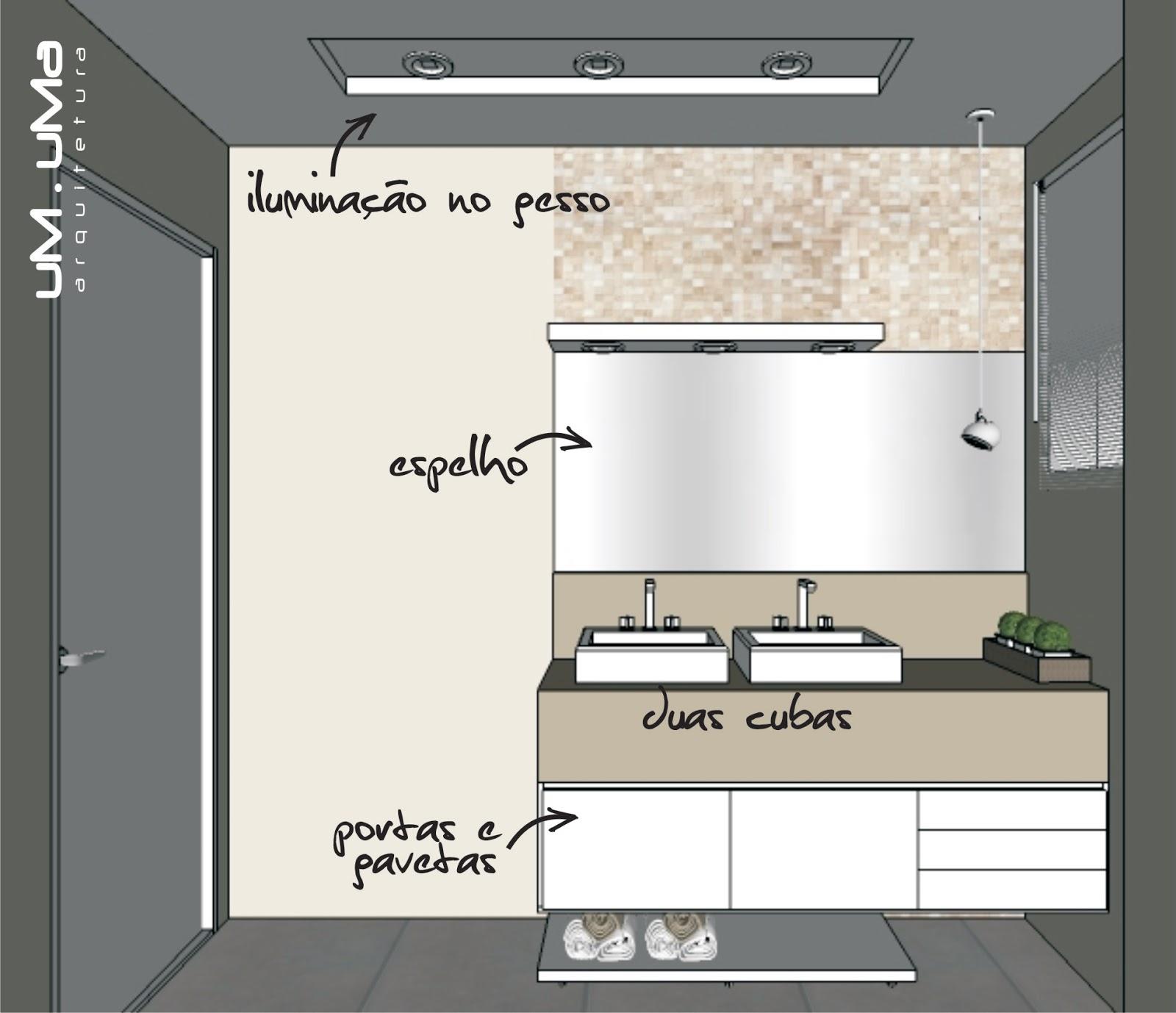 Banheiro casal Espelho horizontal   móvel com portas e gavetas   d  #7C6B4F 1600x1378 Banheiro Casal Duas Cubas