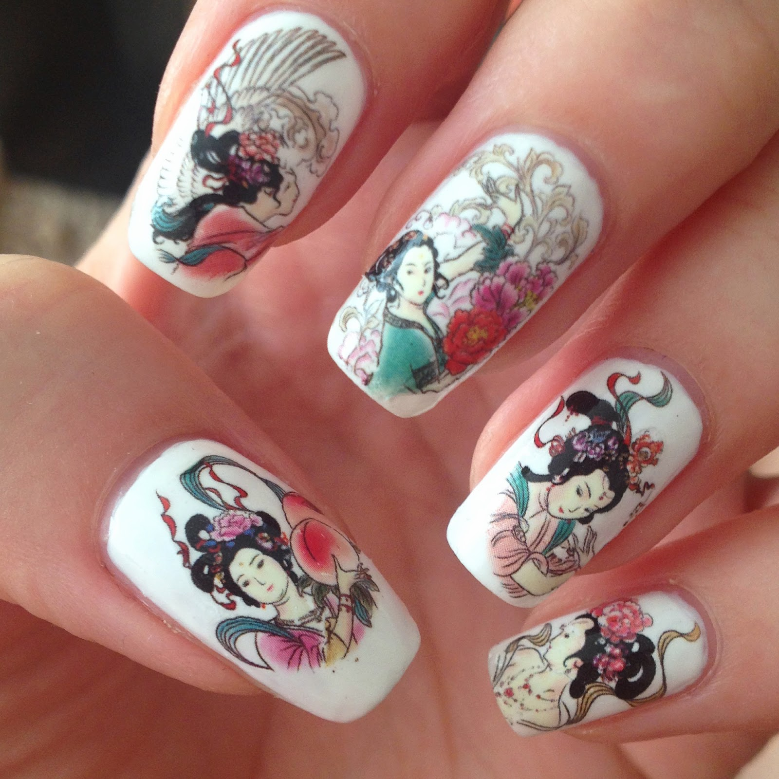 Water Nail Decal Geisha Design