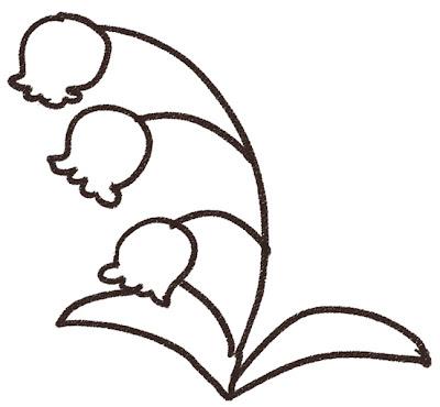 すずらんのイラスト(花) モノクロ線画