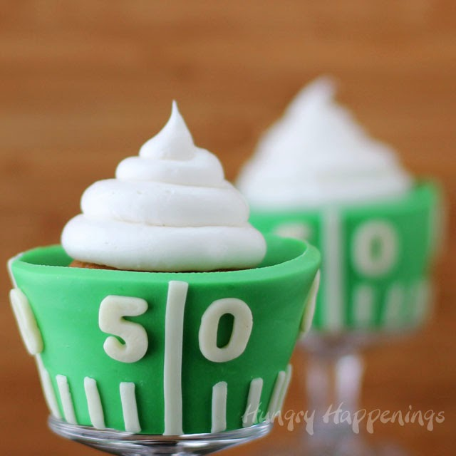 White Chocolate Football Field Cupcake Wrappers | HungryHappenings.com