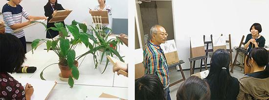 横浜美術学院の中学生教室 美術クラブ 植物スケッチと作品講評会