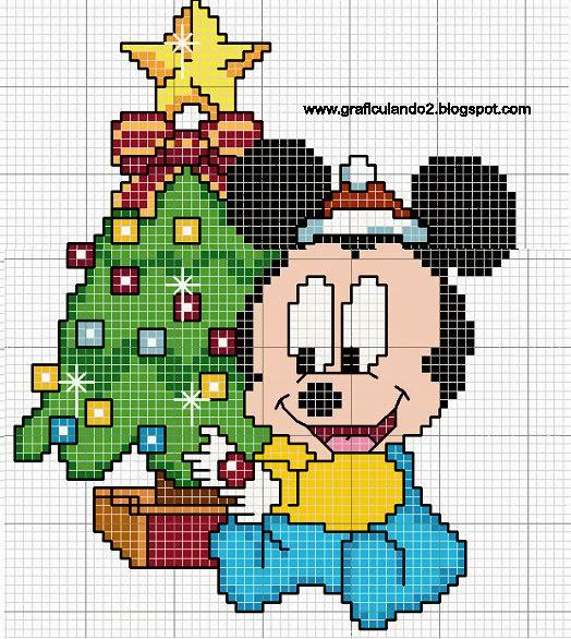 Mickey bebé Navidad para Punto de Cruz.