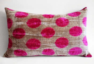 SUKAN DOT SILK PILLOW ON ETSY