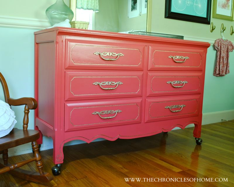 Coral and Gold Dresser from The Chronicles of Home