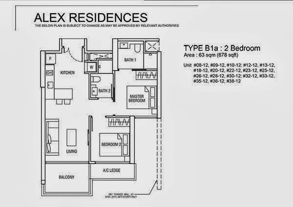 Alex Residences 2 Bedroom Floor Plan