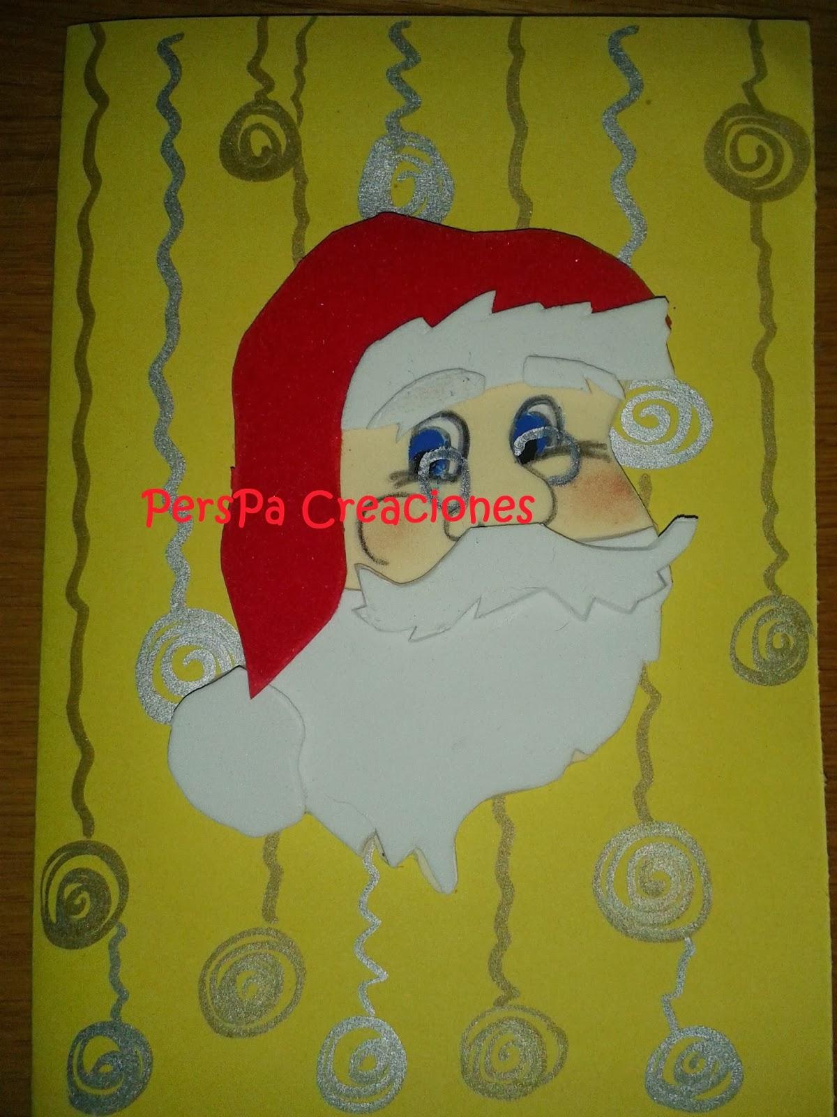 Perspa creaciones manualidades con foami tarjeta navide a - Manualidades tarjeta navidena ...