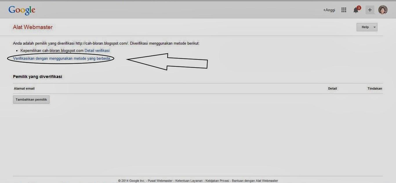 klik saja verifikasi dengan menggunakan metode yang berbeda untuk melanjutkan mendaftar di google webmasters tools