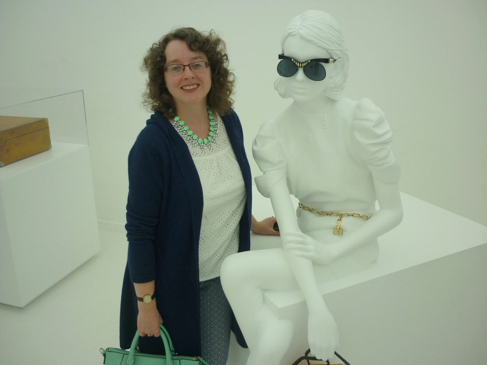 Standing next to a mannequin at the Louis Vuitton Series 3 Exhibition, London | Petite Silver Vixen
