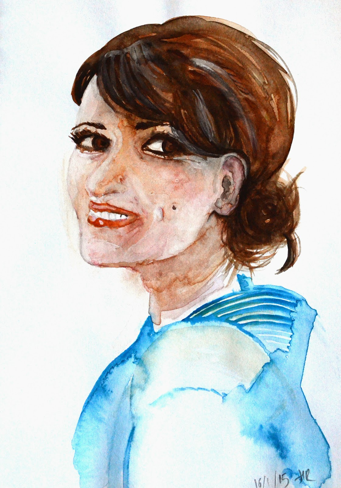 Hannah Redden Self Portrait in Watercolour